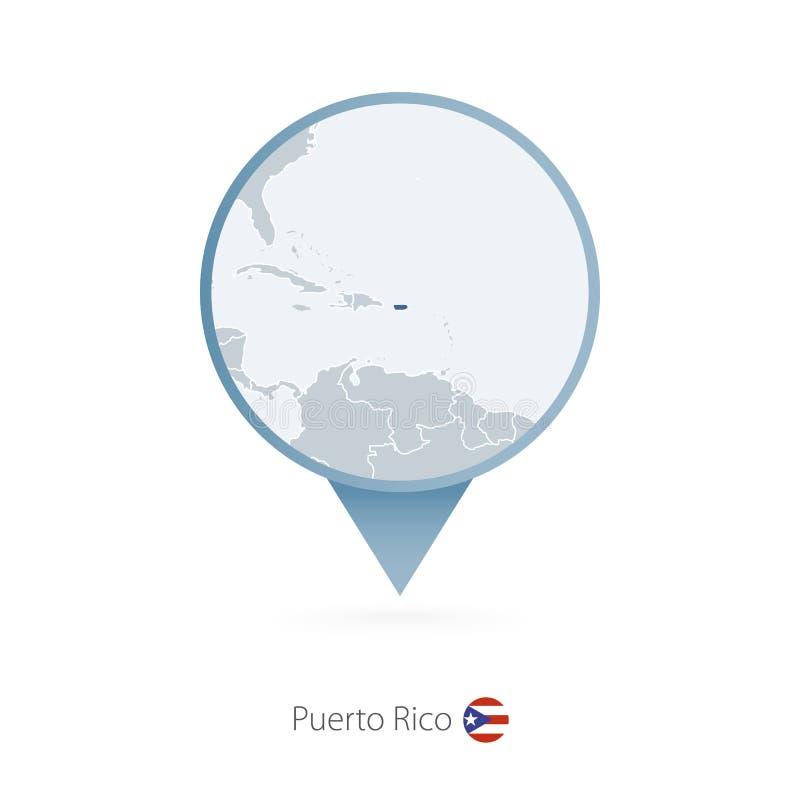 Pino do mapa com o mapa detalhado de Porto Rico e de países vizinhos ilustração do vetor