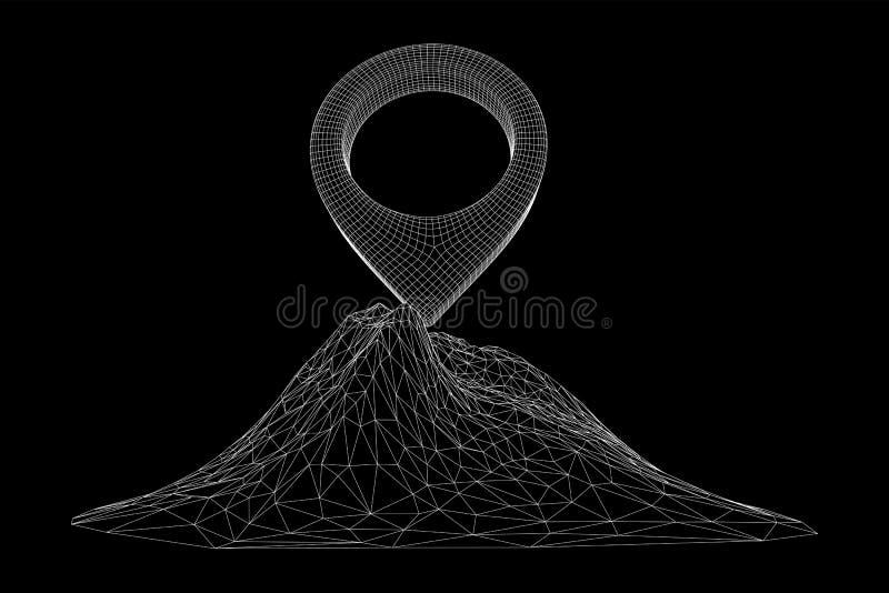 Pino do mapa geográfico na malha do cabo superior do pico da montanha ilustração do vetor