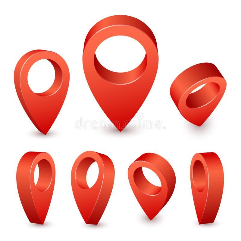 Pino do ponteiro 3d do mapa Marcador vermelho do pino para o lugar do curso Grupo do vetor dos símbolos de lugar no fundo branco ilustração royalty free