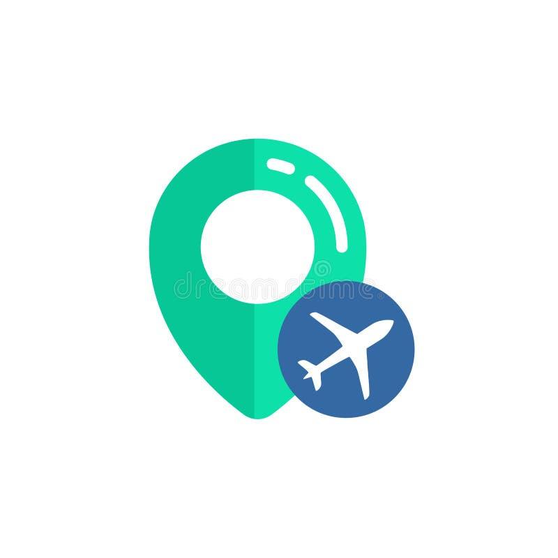 pino do projeto do vetor do ícone do lugar do aeroporto sinal do mapa do pino com projeto plano do símbolo ilustração royalty free