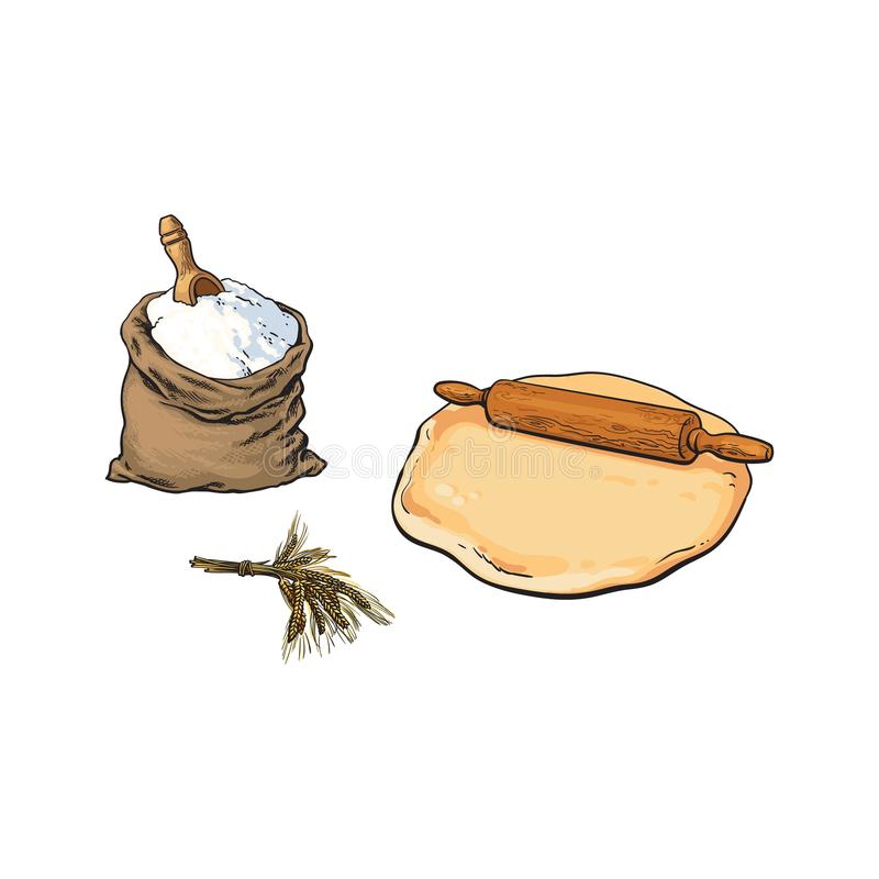 Pino do rolo, massa e saco de serapilheira de farinha completo ilustração do vetor