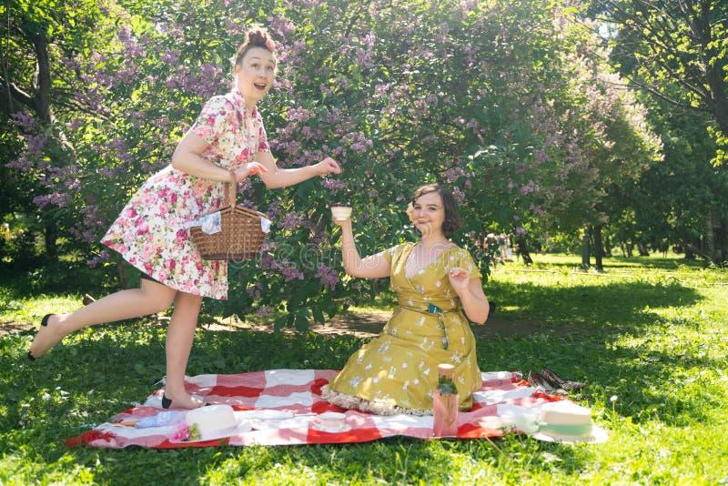 Pino dois bonito acima das senhoras que têm o piquenique agradável no parque da cidade em um dia ensolarado junto os amigos de me imagem de stock
