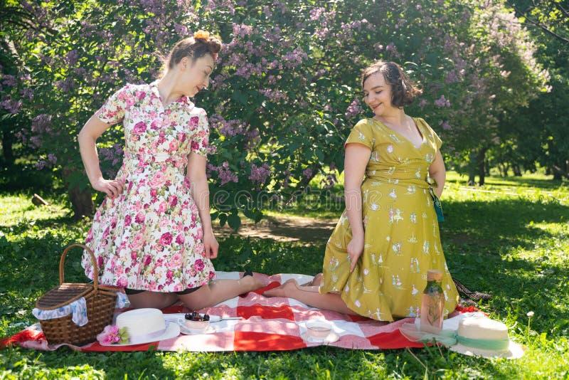 Pino dois bonito acima das senhoras que têm o piquenique agradável no parque da cidade em um dia ensolarado junto os amigos de me fotografia de stock royalty free