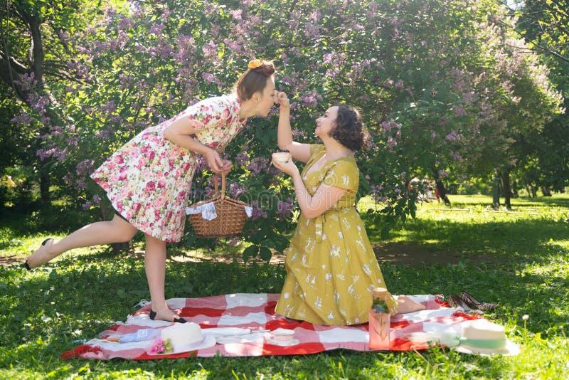 Pino dois bonito acima das senhoras que têm o piquenique agradável no parque da cidade em um dia ensolarado junto os amigos de me foto de stock royalty free