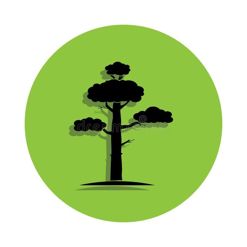Pino en icono verde de la insignia stock de ilustración