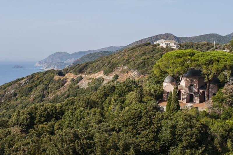 Pino, Haute Corse, Cape Corse, Corsica, Upper Corsica, France, Europe, island. Corsica, 28/08/2017: the Mediterranean maquis with view of the skyline of Pino stock photography