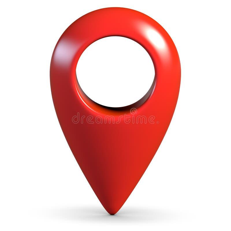 Pino lustroso vermelho do geo do mapa 3d no fundo branco com sombra ilustração do vetor