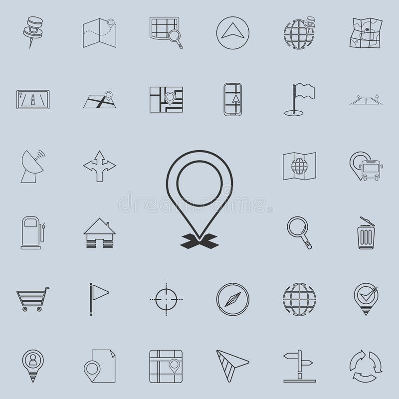 pino no ícone transversal Grupo detalhado de ícones da navegação Sinal superior do projeto gráfico da qualidade Um dos ícones da  ilustração royalty free