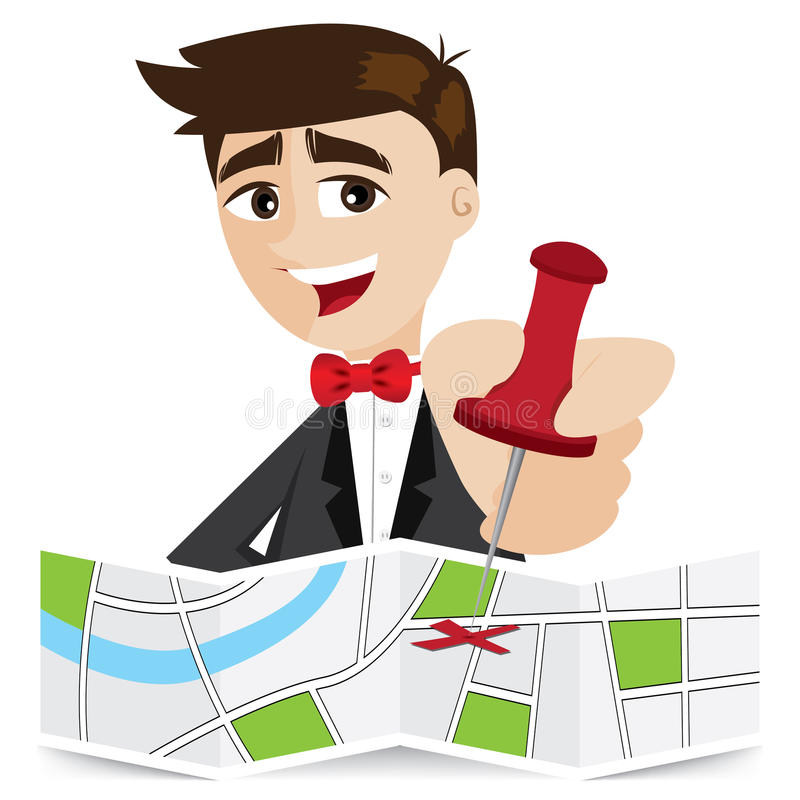 Pino pegajoso do homem de negócios dos desenhos animados no mapa ilustração stock