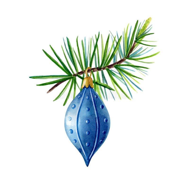 Pino pintado a mano del verde de la acuarela, bola azul de la Navidad libre illustration
