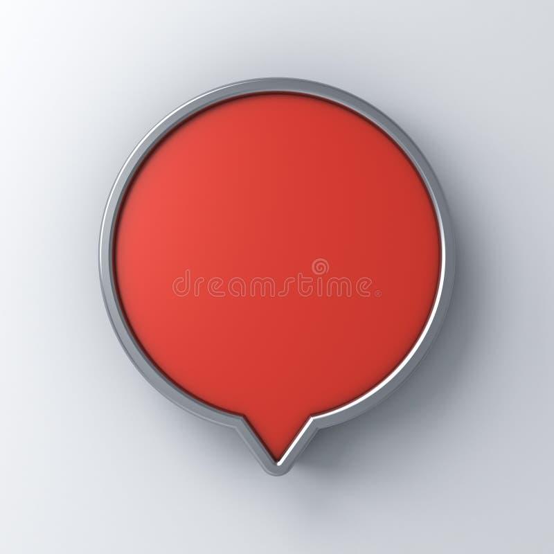 Pino redondo vermelho do signage da bolha do discurso da placa isolado no fundo branco da parede ilustração do vetor