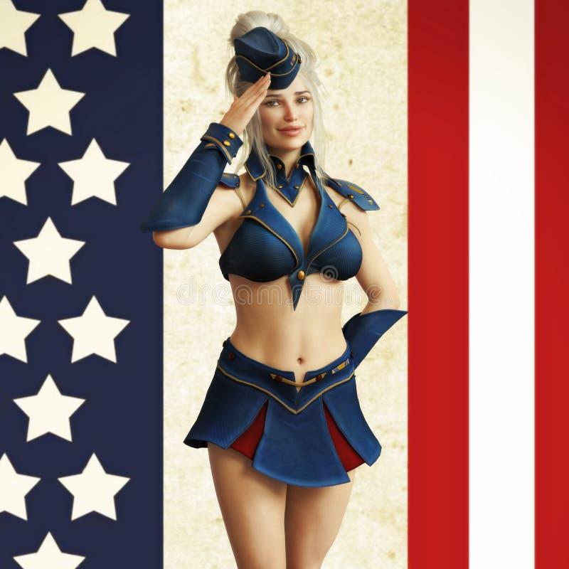 Pino temático americano do vintage acima da menina ilustração do vetor