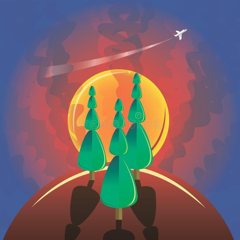 Pino y aeroplano stock de ilustración
