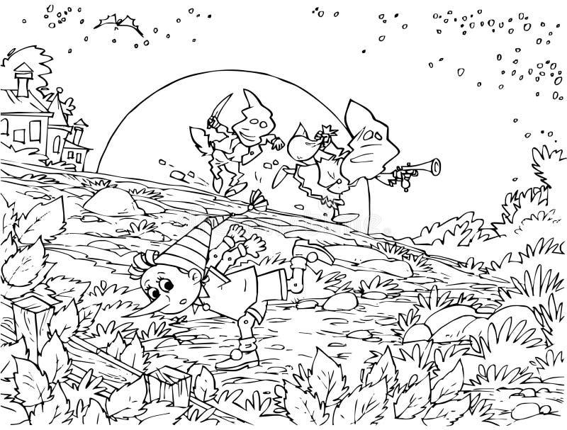 Pinocchio e dois salteadores ilustração royalty free