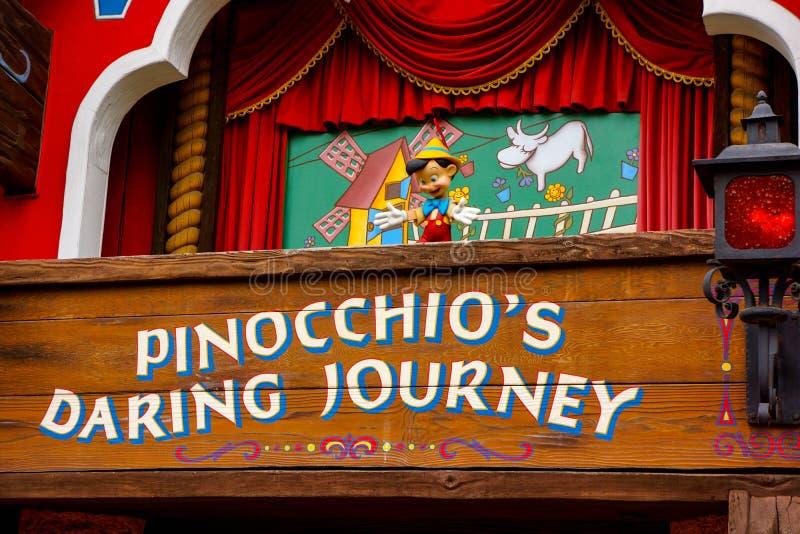 Pinocchio het Durven Reis Disneyland stock foto's
