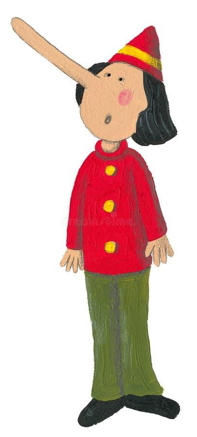 Pinocchio met grote neus stock illustratie