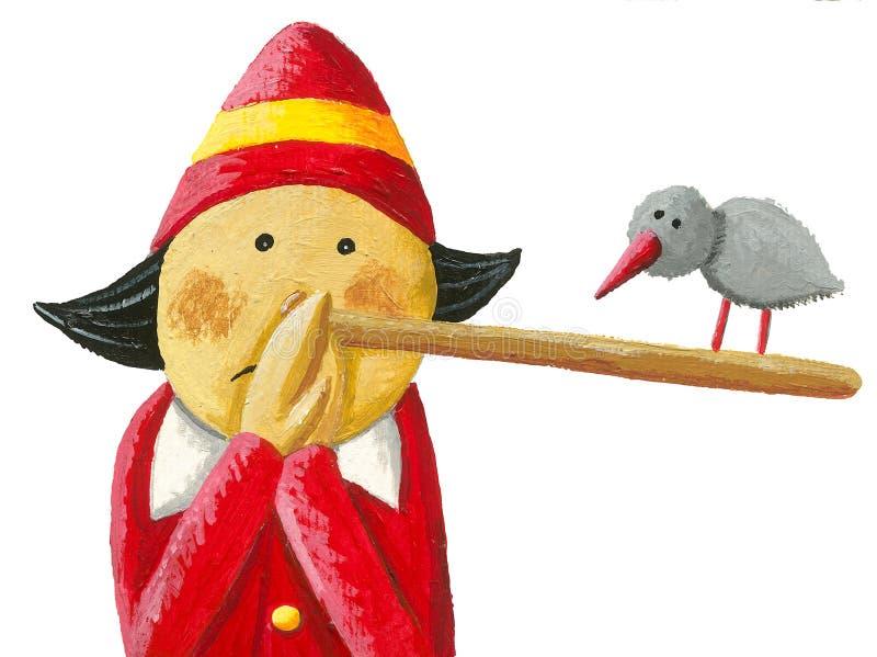 Pinocchio säger: Oops! , Berättar jag egentligen sanningen royaltyfri illustrationer