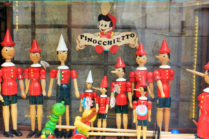 Pinocchio store in Rome, Italy stock images