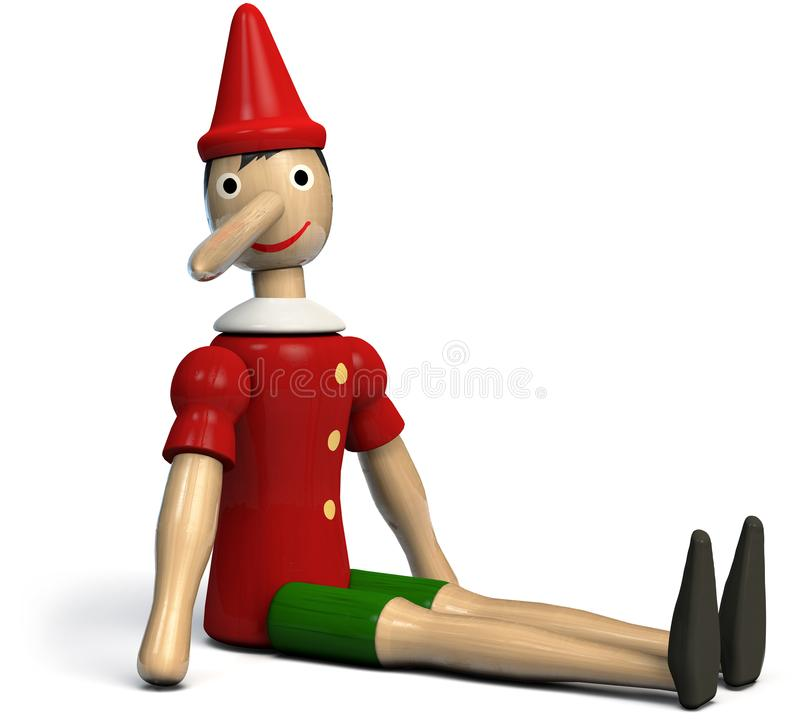 Pinocchio Toy Sitting på golvet royaltyfri illustrationer