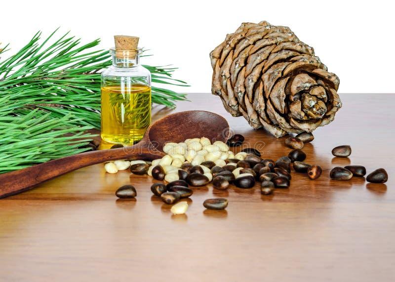 Pinoli ed olio del cedro immagine stock