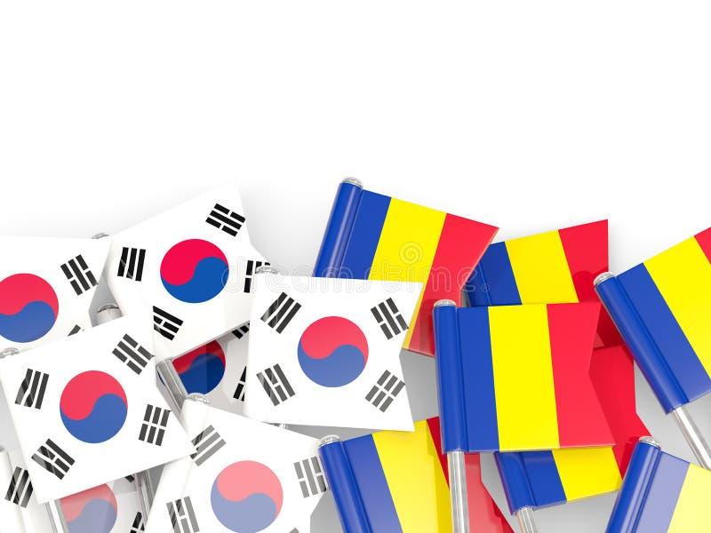 Pinos com as bandeiras de Coreia do Sul e de romania isolados no branco ilustração royalty free