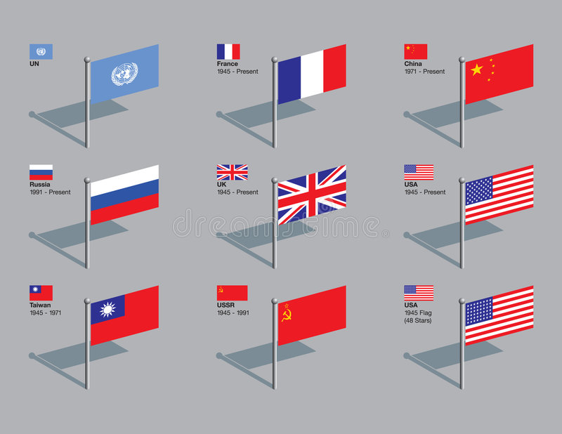 Pinos da bandeira, o Conselho de segurança de UN fotografia de stock