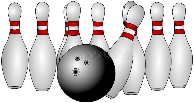 Pinos de bowling ilustração stock