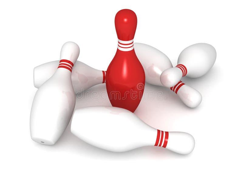 Pinos de bowling com o um líder original vermelho ilustração royalty free