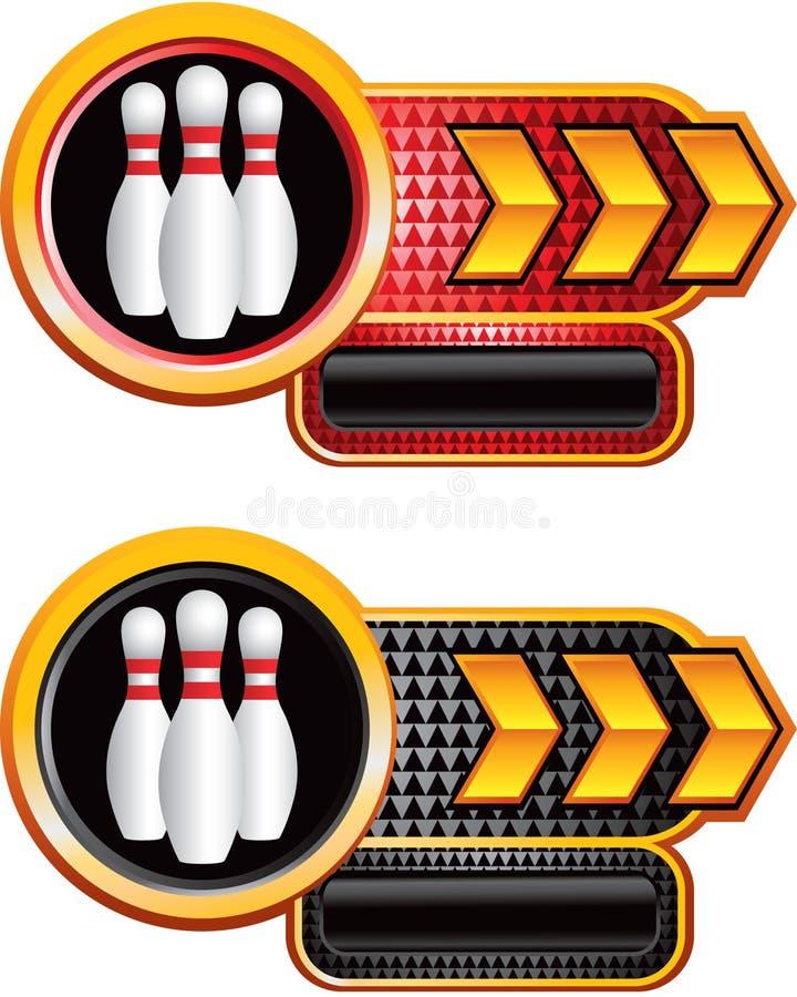 Pinos de bowling em bandeiras da placa de identificação da seta do ouro ilustração stock