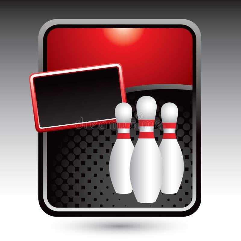 Pinos de bowling na bandeira estilizado vermelha ilustração do vetor