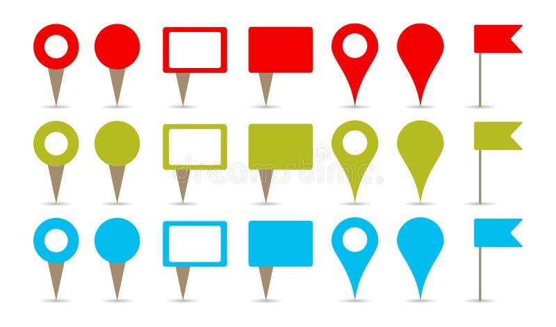 Pinos do mapa ilustração stock