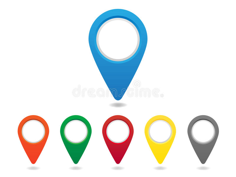 Pinos do mapa ajustados ilustração royalty free