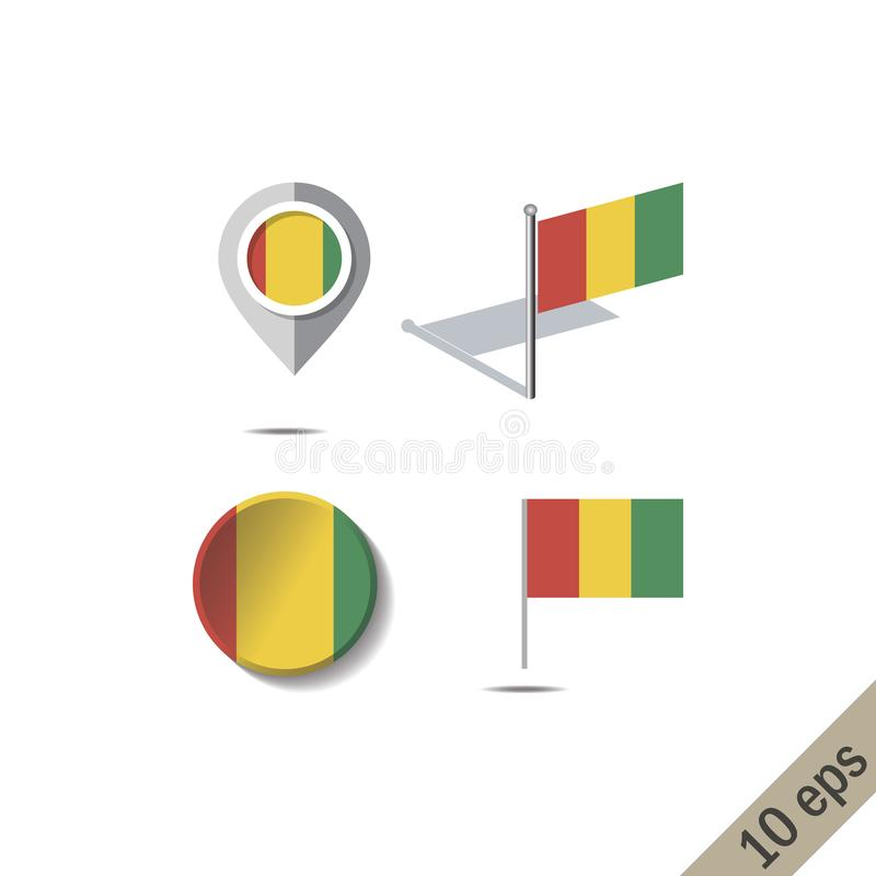 Pinos do mapa com a bandeira da GUINÉ ilustração stock