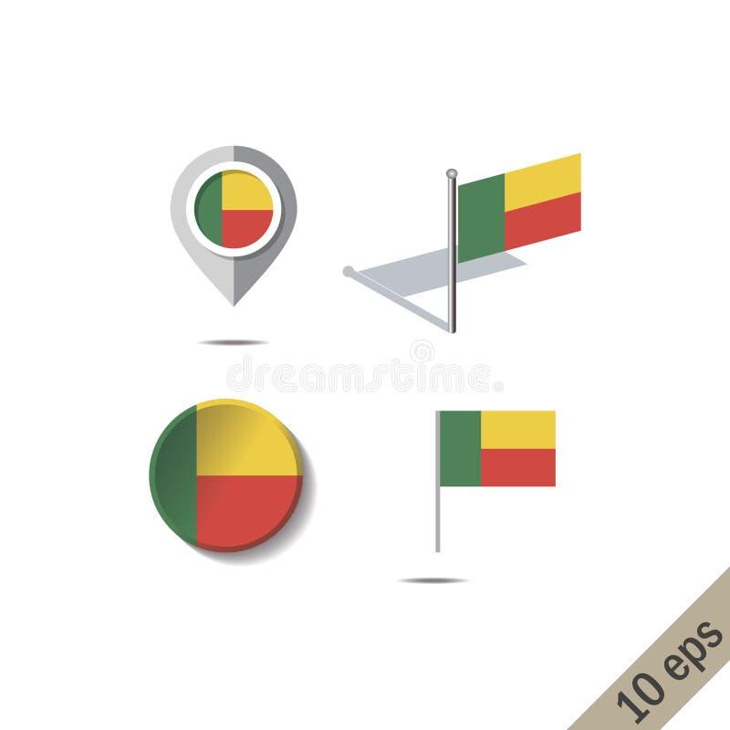 Pinos do mapa com a bandeira de BENIN ilustração do vetor