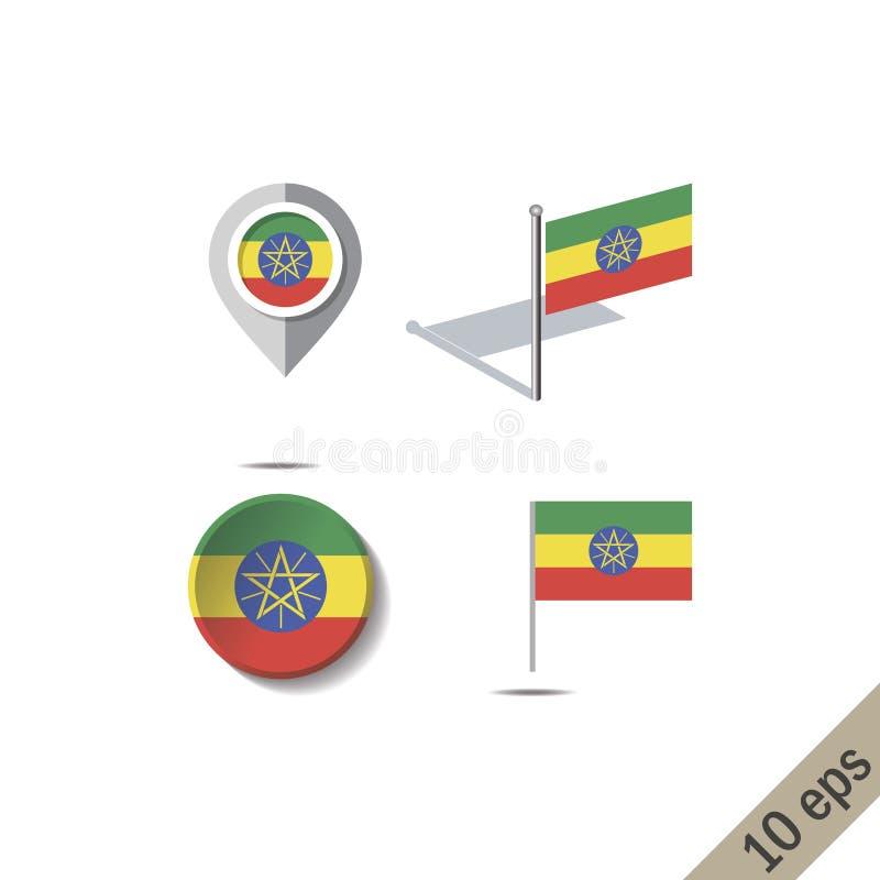 Pinos do mapa com a bandeira de ETIÓPIA ilustração royalty free