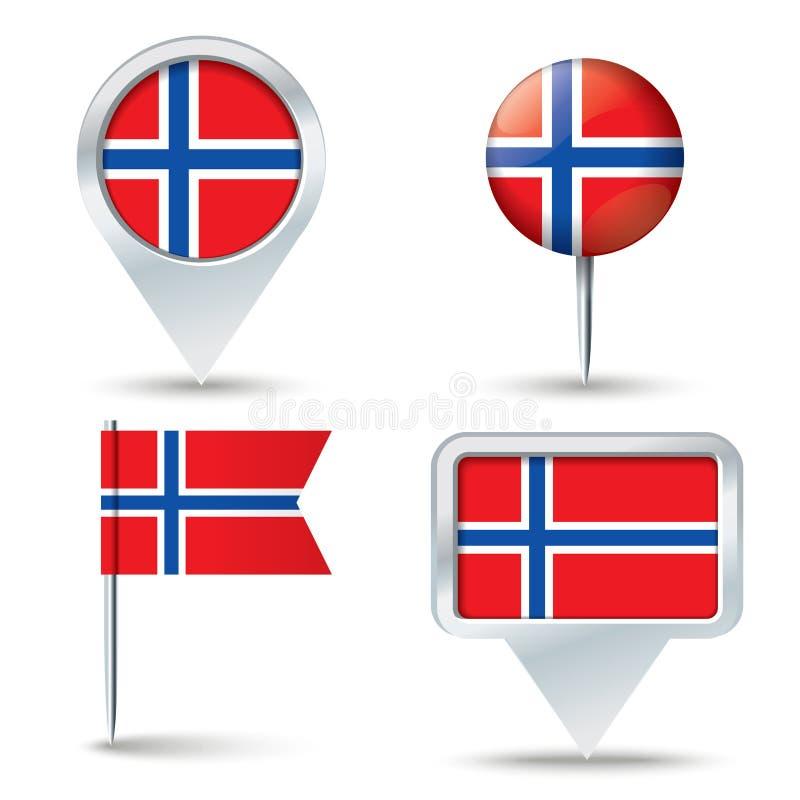 Pinos do mapa com a bandeira de Jan Mayen ilustração stock