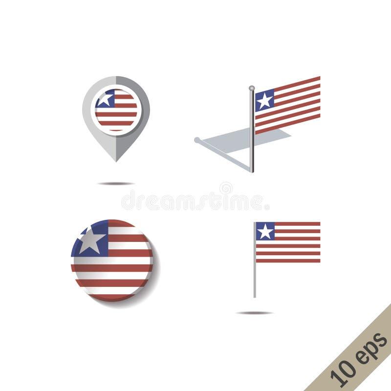 Pinos do mapa com a bandeira de LIBÉRIA ilustração do vetor