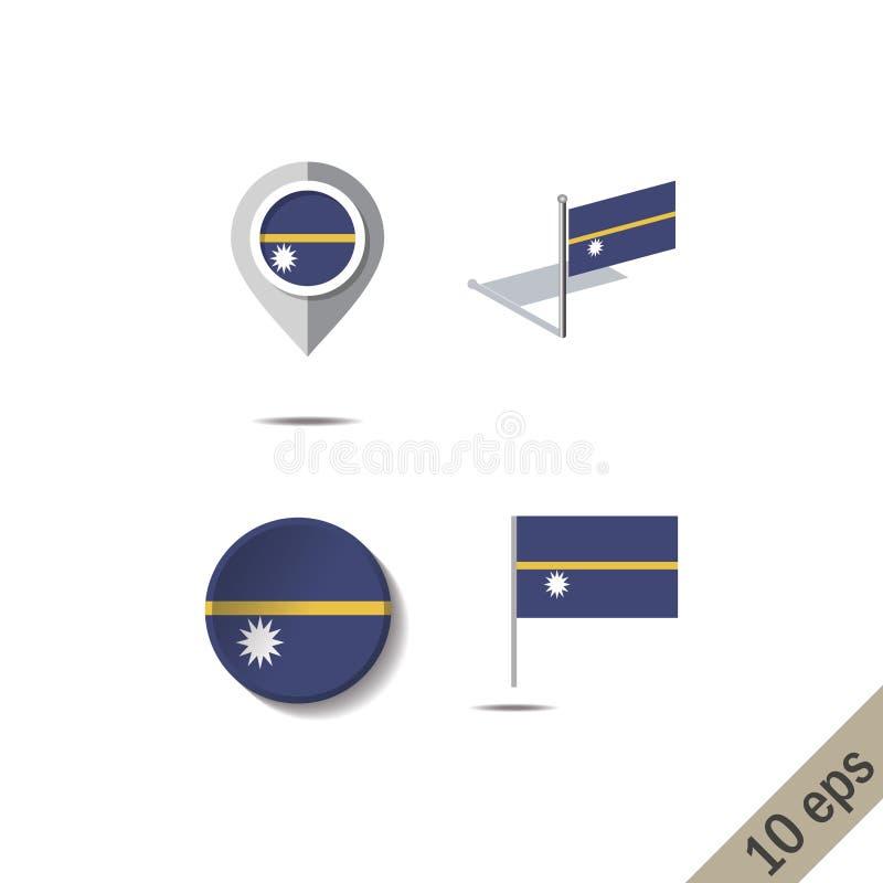 Pinos do mapa com a bandeira de NAURU ilustração stock