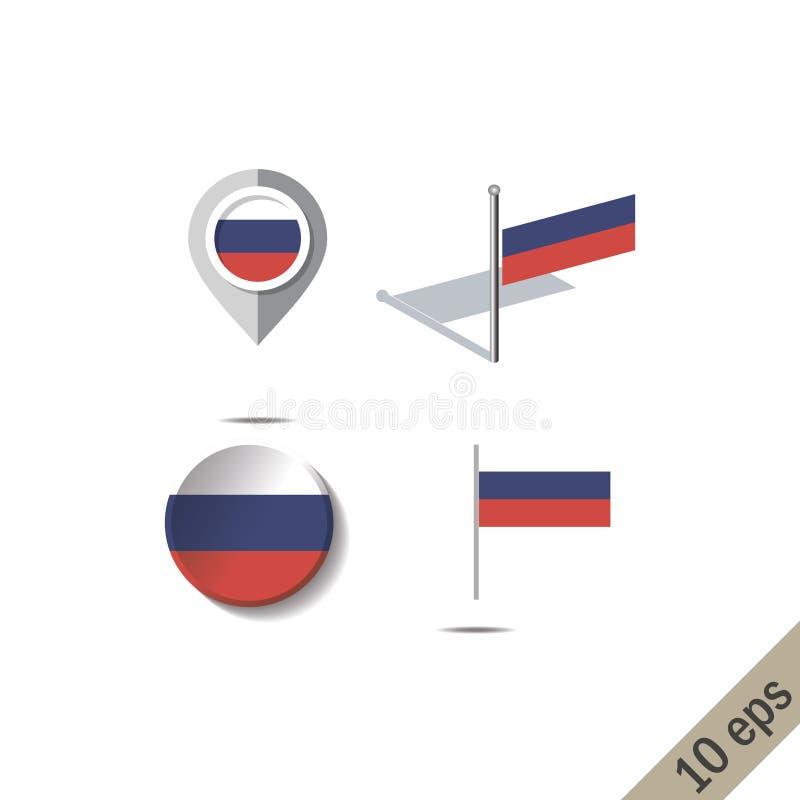 Pinos do mapa com a bandeira de RÚSSIA ilustração royalty free