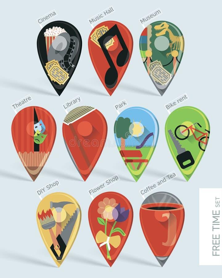 Pinos do mapa das atividades do tempo livre ajustados ilustração royalty free