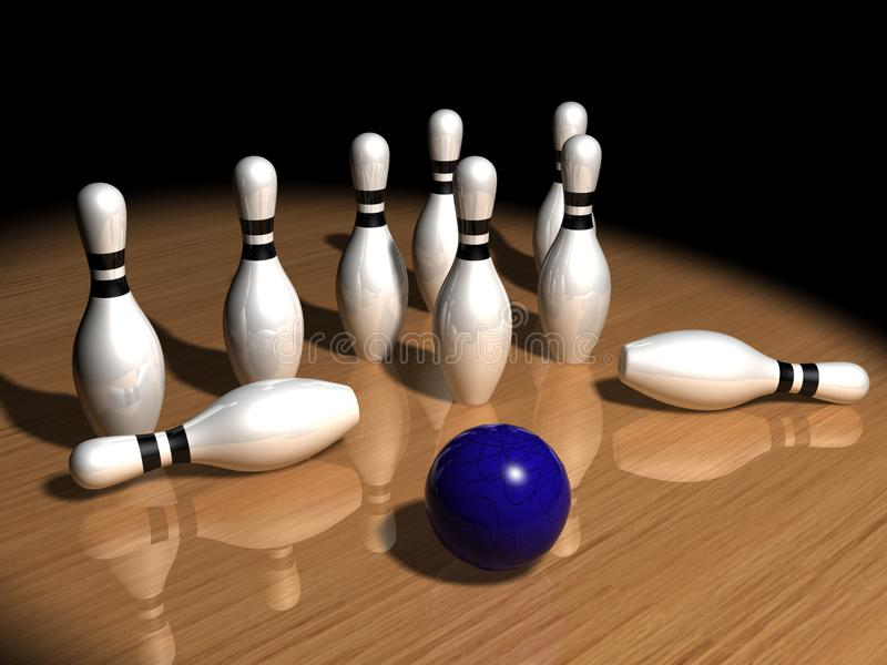 Pinos e esfera de bowling ilustração royalty free