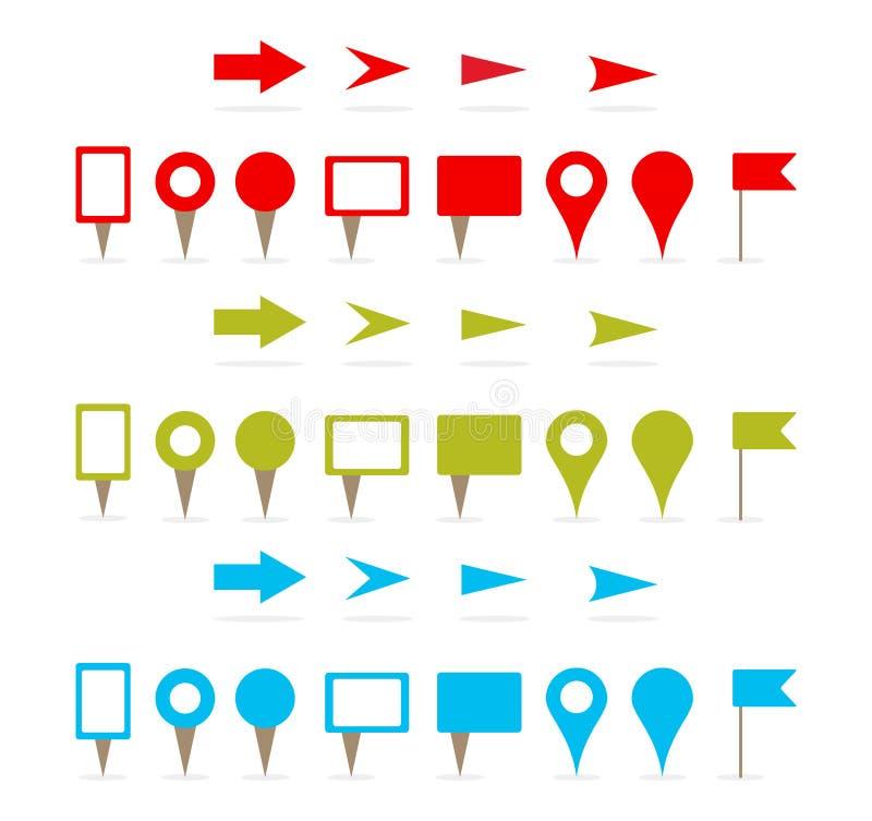 Pinos e setas do mapa ilustração stock