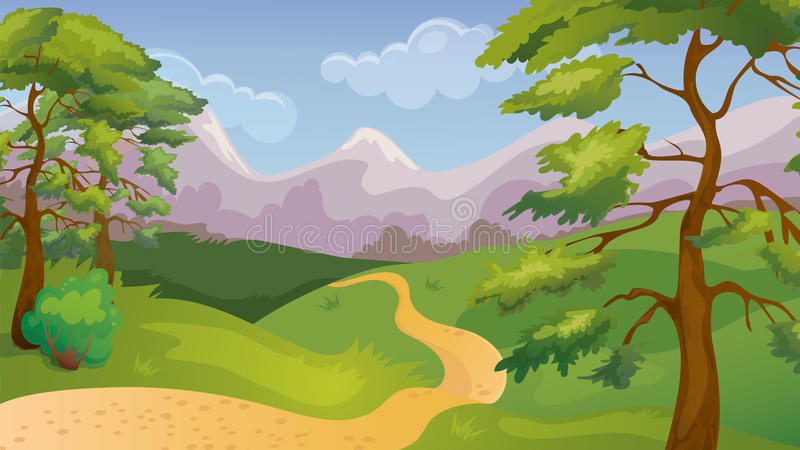 Pinos Forest Game Background stock de ilustración