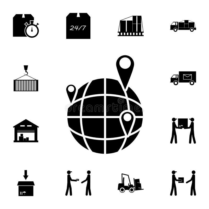 pinos no ícone do globo Grupo detalhado de ícones logísticos Ícone superior do projeto gráfico da qualidade Um dos ícones da cole ilustração stock