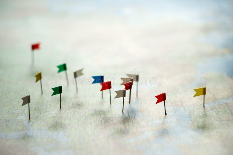 Pinos no mapa do mundo imagens de stock