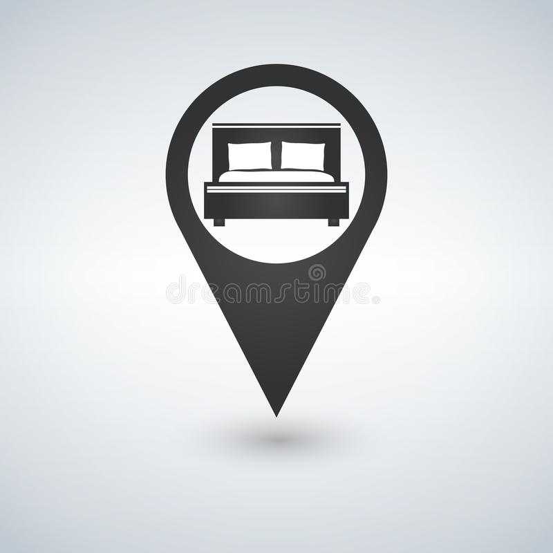 Pinpoint hotel accommodation, map point isolated icon with bed symbol, illustration. royalty free illustration
