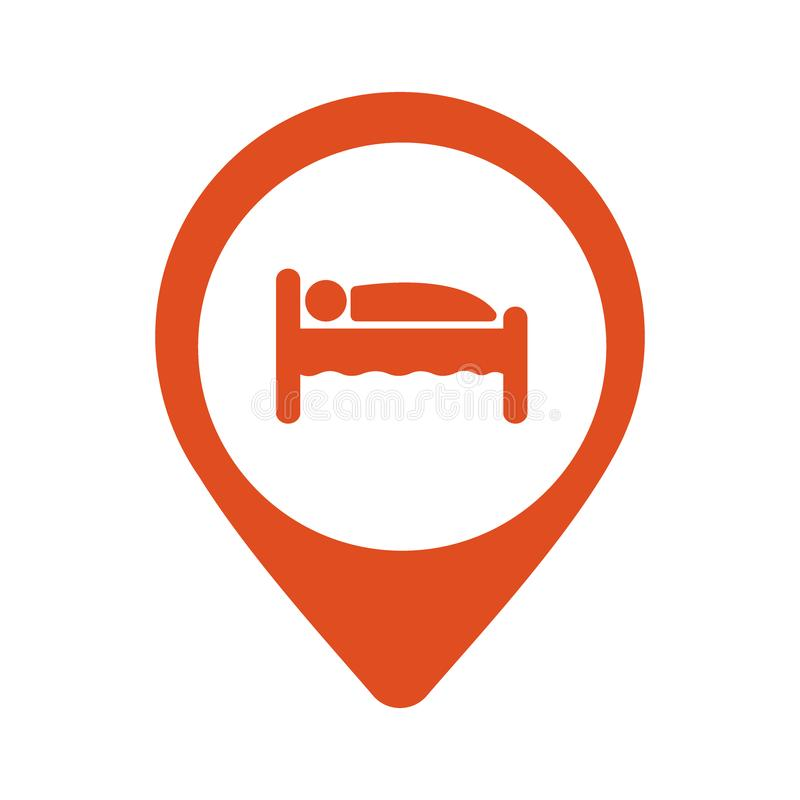 Pinpoint hotel accommodation, map point isolated icon with person in bed symbol, vector stock illustration