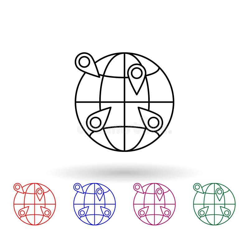 Pins auf dem Globus - mehrfarbiges Symbol Einfache dünne Linie, Konturvektor Vektor Navigation Icons für ui und ux, Website oder  vektor abbildung