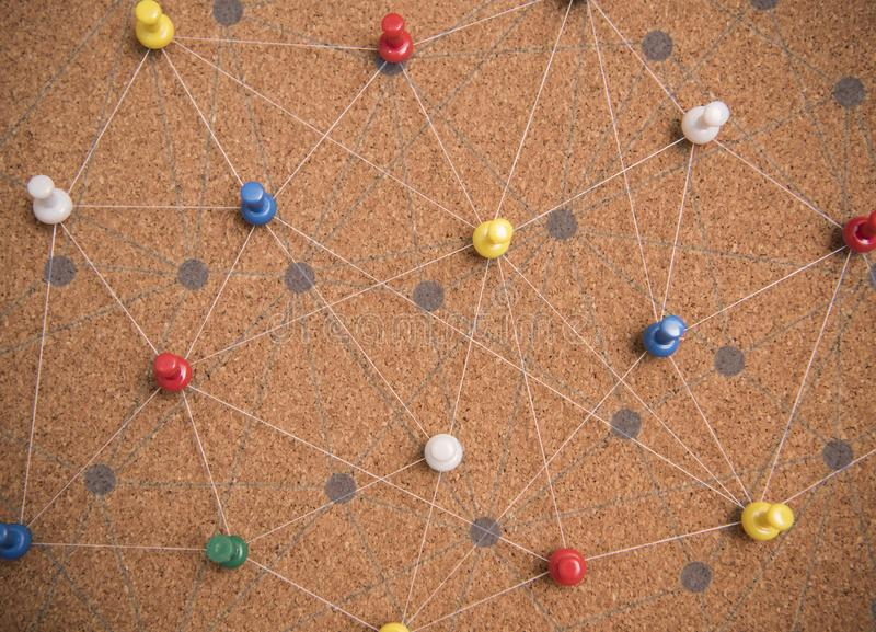 Pins connected linear network background. networking royalty free stock image