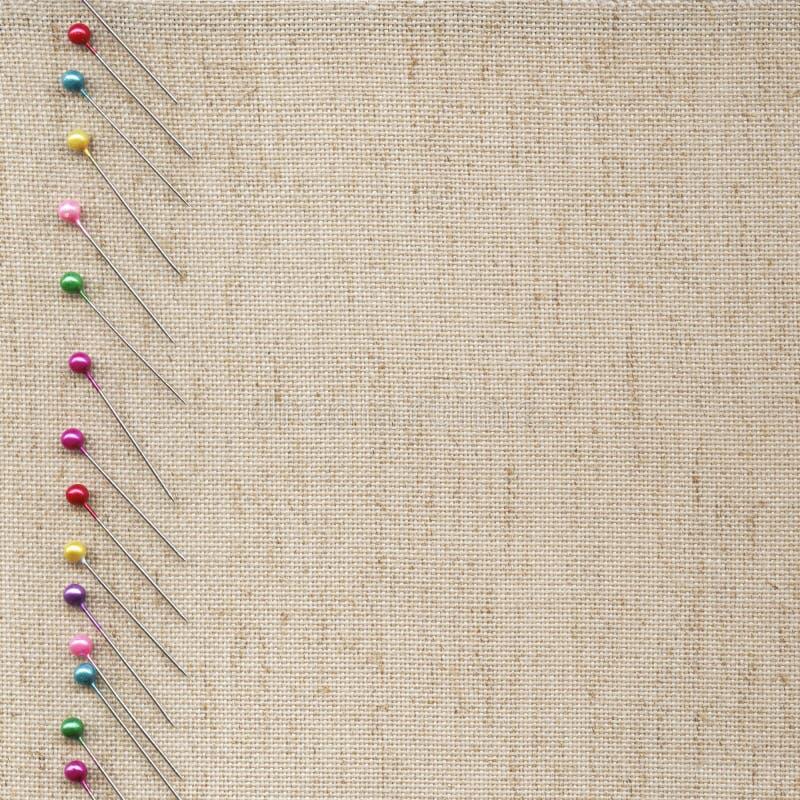 Pins on fabric